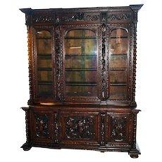 Antique French Hunt Cabinet or Bookcase, Oak, 19th Century, Barley Twist Columns