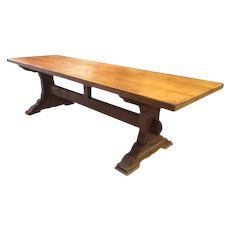 Solid Oak Rustic French Monastery Table, 1900's