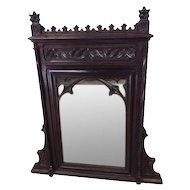 Nicely Carved French Gothic Mirror, Tall, 19th Century, Oak