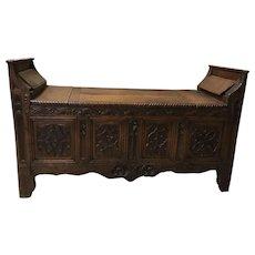 Fascinating Primitive Antique French Gothic Bench, 1850's, Oak