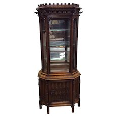 Attractive French Gothic Display Cabinet, Walnut, 19th Century, Gargoyles