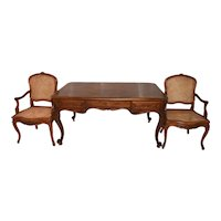 Vintage French Louis XV style Desk Including 2 Arm Chairs, 1920's