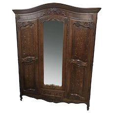 Lovely French Provincial Armoire, Warm Patina, Oak, 1920's