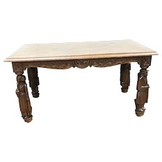 Nicely Sized French Breton Coffee Table, Tall figurines, Parquet top, Oak