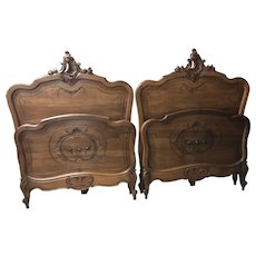 Lovely Pair of Antique French Twin Beds, Walnut, 19th Century
