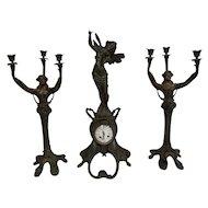 Rare French Art Nouveau Mantel Clock & Candelabras, 1920-30's