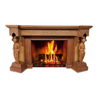 Unique French Gothic Fireplace Mantel with Knights, Oak, 1920's