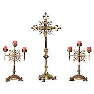 Lovely Crucifix & Candelabra Set, 1900's, Bronze, Religious