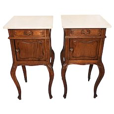 Attractive & Simple Pair of French Night Stands with Marble Top, Oak, 1920's