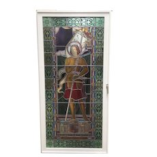 Tall Leaded Glass Church Window of St. Joan of Arc