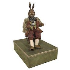 Handsome Vintage Rabbit Music Box / Automaton