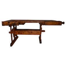 Nice Rustic European Work Bench, Great Console or Bar, 19th Century