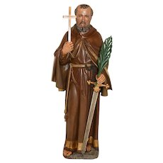 Nice Tall Religious Statue of Saint Fidelis of Sigmaringen, Wood, 19th Century