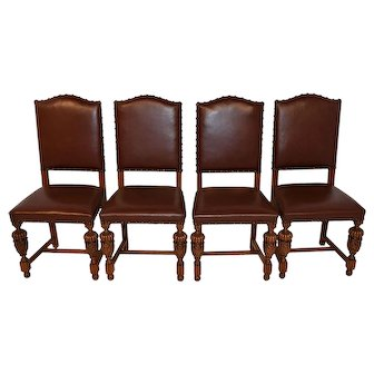 Set of Four Vintage French Tudor Dining Chairs, 1930-40's, Oak