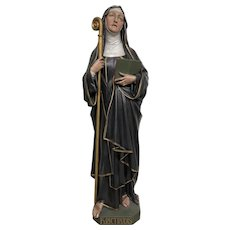 Antique Religious Statue of St. Gertrude the Great, Plaster, 1900-20's