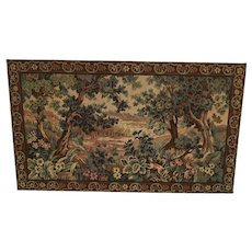 Lovely Vintage Tapestry Mounted on Wooden Panel, 80 x 47, 1940's, Vibrant