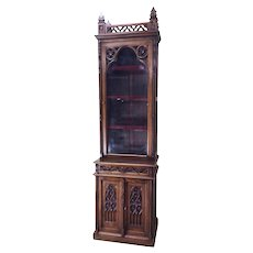 Rare French Gothic Display Cabinet or Bookcase, Narrow, 19th Century, Oak