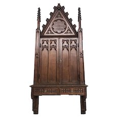 "Unique Antique French Gothic Wall Cabinet, 78"" Tall, Narrow, Turn of the Century, Oak"
