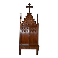 "Unique Antique French Gothic Wall Cabinet,  95"" Tall, Narrow, Turn of the Century, Oak"