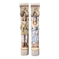 Large European Painted Fireplace Statues, Whimsical, 1950-60's