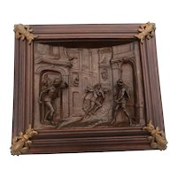 Cast Iron & Walnut Renaissance Panel, Antique Artwork, 19th Century