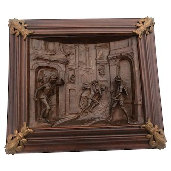 Cast Iron & Walnut Renaissance Panel, Antique Artwork, 19th Century