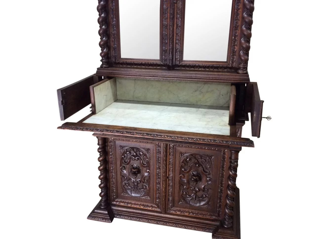 Antique French Hunt Bedroom Cabinet With Vanity/Desk, 19th