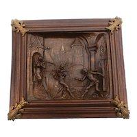 Renaissance Panel, Cast Iron & Walnut, Antique Art