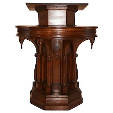 Attractive Gothic Podium, 1920's, Oak, Religious