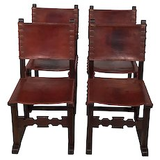 Nice Rustic Set of Four Leather Spanish Sides, Oak Frame, 1920's