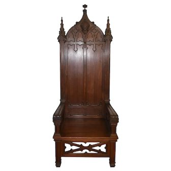 Monumental Gothic Throne or Bishops Chair, Walnut, Turn of the Century, Religious
