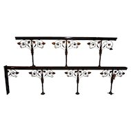 Fantastic Antique Church Railing in Bronze & Mahogany, Turn of Century, Architectural