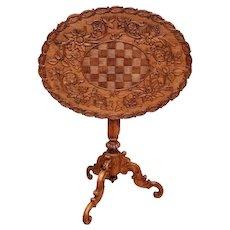 Lovely Antique Black Forest Occasional Table, Tilt Top, 1900's