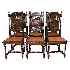 Fantastic Set of Six Breton Dining Chairs, Oak, 1900's