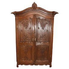 Larger Double Door French Normandy Armoire, Oak, 1900-20's, Storage
