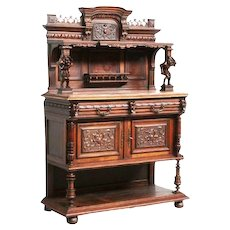 Beautifully Carved Antique French Jester Server /Sideboard, Whimsical, Walnut, 1890's
