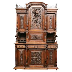 Magnificent Antique French Gothic Jester Cabinet, Fantastic Carvings, 19th Century, Walnut