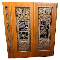 Vintage Leaded Glass Doors with Side Lights, Folklore Themed, 1920's