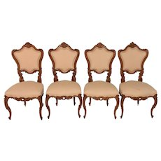 Vintage French Louis XV Dining Chairs, Oak, 1940's