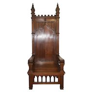 Antique Gothic Bishops Chair / Throne Chair, Clean Lines, Tall Spires, Walnut, 1900's