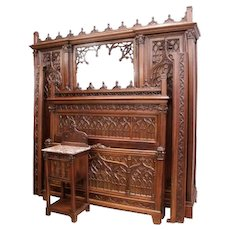 Sensational French Gothic Bedroom, Bed, Nightstand & Armoire, 19th Century, Walnut