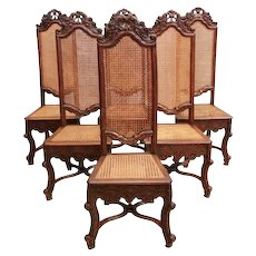 Beautifully Designed French Louis XV High Back Dining Chairs, Beech Wood, Late 19th Century