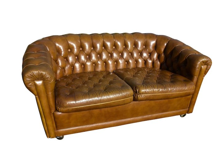 Leather English Chesterfield Sofa Warm Golden Brown 1960 S
