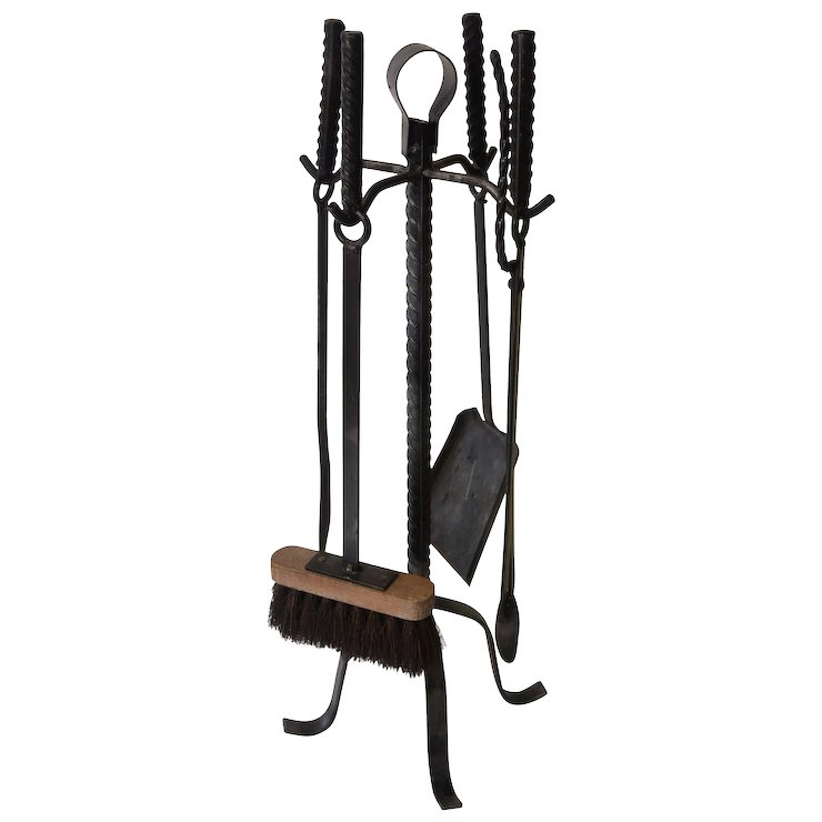 Vintage Fireplace Tools Four Piece Set With Holder Heavy Iron
