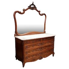 Elegant Antique French Louis XV Marble Top Dresser, Beveled Mirror, Walnut