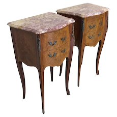 Nice Petite Pair Of Marble Top French Nightstands, Two Drawers, 1940-50's