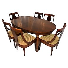 Showy French Empire Dining Set, Includes Table & Six Chairs, 1930-40's