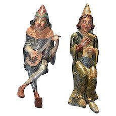 Pair of Antique Hand Carved & Painted Wall Jesters, 19th Century