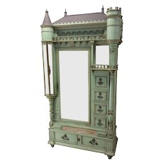 Rare Antique Painted French Cabinet, Castle Design, Whimsical, Turn of Century