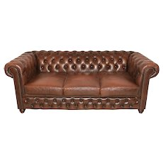 Nice Clean English Chesterfield Sofa, 3 Seater, 1970's